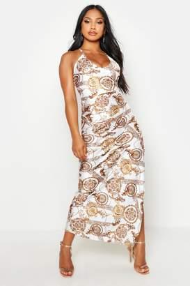boohoo Satin Chain V Neck Maxi Slip Dress