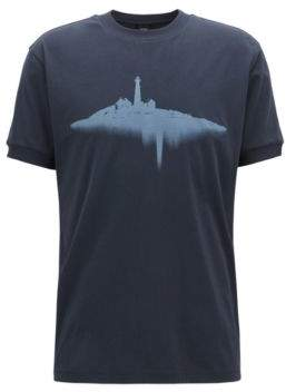 BOSS Hugo Relaxed-fit T-shirt in cotton water-based print M Dark Blue