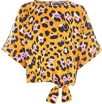 River Island Girls yellow leopard print tie front top