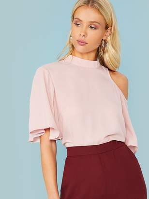 Shein One Cold Shoulder Flutter Sleeve Tie Back Top