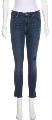 Mother Looker Ankle Fray Mid-Rise Jeans