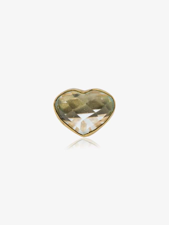 Jessie Western 18k yellow gold aquamarine heart stud earring