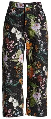 Topshop MOTO Diamante Floral High Waist Crop Wide Leg Jeans
