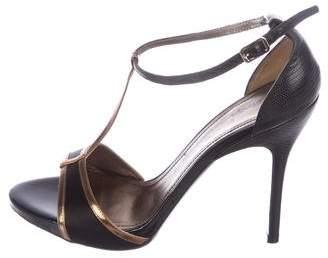 Lanvin Satin T-Strap Sandals