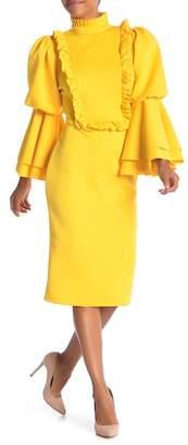 CQ by CQ Frilled Bib Collar Puff Long Sleeve Bodycon Dress