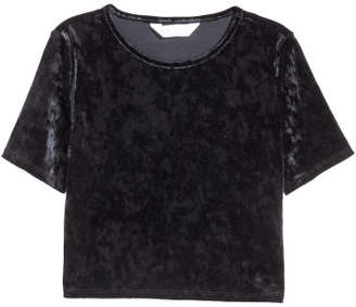 H&M Short Velvet Top - Black