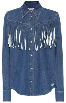 MSGM Fringed denim shirt