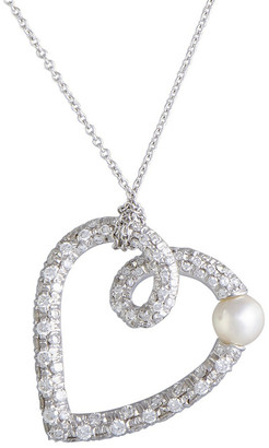 Mikimoto 18K 0.85 Ct. Tw. Diamond & 5-5.5Mm Pearl Heart Necklace