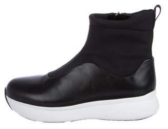 Prada Linea Rossa Leather High-Top Sneakers Black Linea Rossa Leather High-Top Sneakers