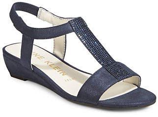 Anne Klein Beaded Wedge Sandals