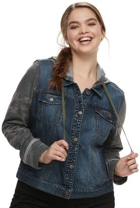 Mudd Juniors' Plus Size Hooded Knit Sleeve Jean Jacket