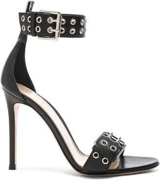 Gianvito Rossi Leather Buckle Ankle Strap Sandals in Black | FWRD