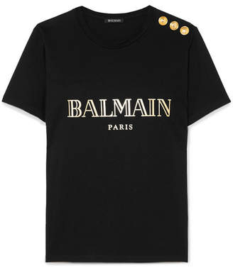 56ef81cacb3 Balmain Button-embellished Printed Cotton-jersey T-shirt - Black
