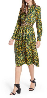 Scotch & Soda Long Sleeve Mixed Print Midi Dress