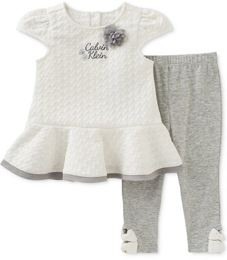 Calvin Klein 2-Pc. Quilted Peplum Tunic & Capri Leggings Set, Baby Girls (0-24 Months) $50 thestylecure.com
