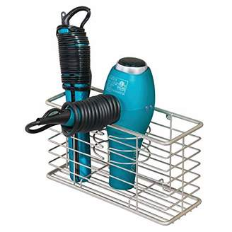 styling/ mDesign Bathroom Wall Mount Hair Care & Styling Tool Organizer Storage Basket for Hair Dryer
