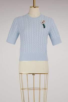 Miu Miu Short-Sleeved Cashmere Sweater