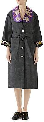 Gucci Women's Embroidered Wool Robe Coat