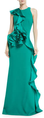 Badgley Mischka Sleeveless Sculpt Flower Gown w/ Asymmetric Ruffle