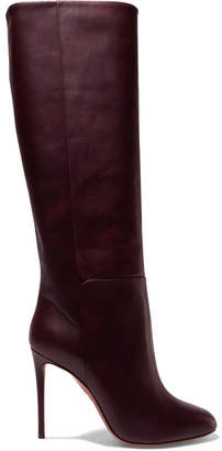 Aquazzura Brera 105 Leather Knee Boots - Burgundy
