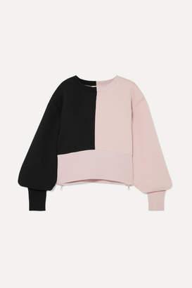 Maeve Vaara Cropped Color-block Cotton-blend Jersey Sweatshirt - Pink