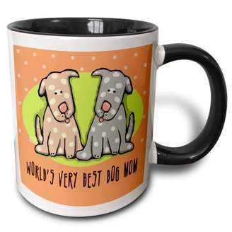 3dRose World s Best Dog Mom Cute Cartoon Puppies Pets Animals - Two Tone Black Mug, 11-ounce