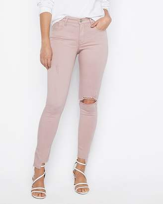 Express Mid Rise Destroyed Stretch Ankle Leggings
