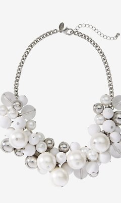 Express Pearl And Metal Bauble Necklace