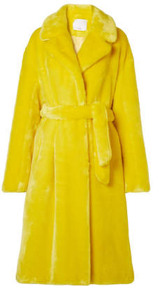 Tibi Oversized Faux Fur Coat - Chartreuse