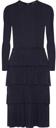 Oscar de la Renta - Tiered Pointelle-knit Wool Dress - Midnight blue $2,790 thestylecure.com