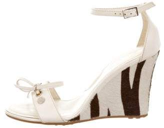 Tod's Ponyhair-Accented Wedge Sandals