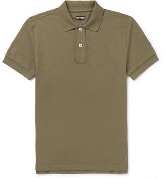 Tom Ford Slim-Fit Cotton-Pique Polo Shirt - Men - Army green