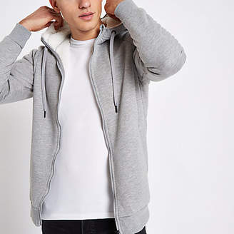 River Island Only and Sons grey teddy zip hoodie