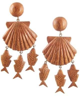 Rebecca De Ravenel Delphine wood chram drop earrings
