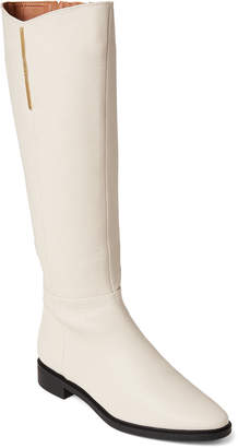 Calvin Klein Soft White Francine Leather Knee-High Boots