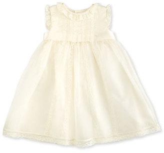 Luli & Me Sleeveless Lace-Trim Silk Organza Dress, Ivory, Size 3-24 Months $118 thestylecure.com