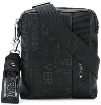 Versace logo zipped messenger bag