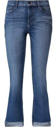 J Brand Selena Distressed Mid-Rise Kick-Flare Jeans