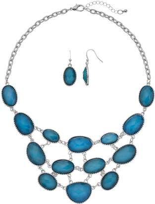 Blue Bead Statement Necklace & Drop Earring Set