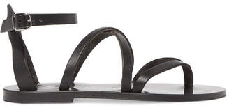 K Jacques St Tropez Fusain Leather Sandals - Black