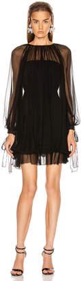 Alberta Ferretti Ruffle Mini Dress in Black   FWRD