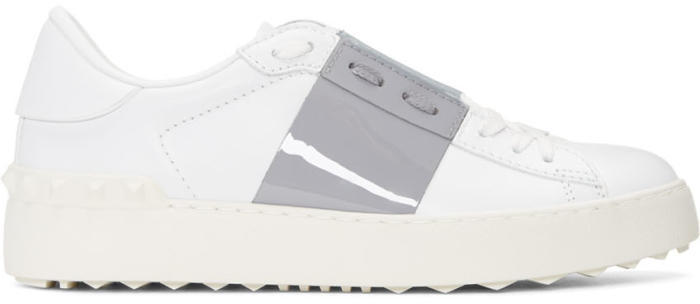 Valentino White and Grey Valentino Garavani Open Sneakers