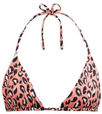 Reina Olga Love Triangle Leopard Print Bikini Top - Womens - Pink Multi