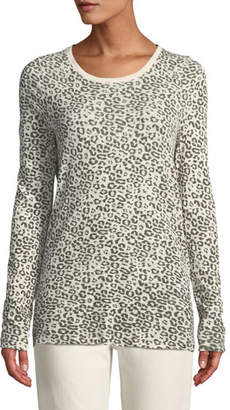 ATM Anthony Thomas Melillo Crewneck Long-Sleeve Leopard-Print Slub Jersey Tee