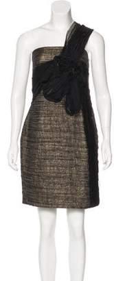 Robert Rodriguez Metallic One-Shoulder Dress