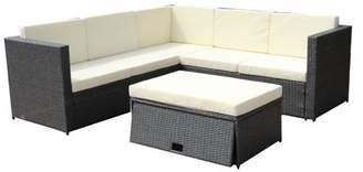 ALEKO Rattan Wicker 4-PC Patio Sofa Set with Storage Footstool/Glass Table - Dark Gray with Cream Cushions
