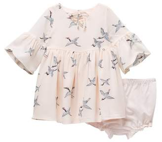Pippa Pastourelle by and Julie Long Sleeve Printed Dress Set (Baby Girls 0-9M)