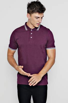 boohoo Slim Fit Pique Polo With Tipping