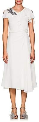 Zac Posen Women's Floral-Embroidered Crepe Midi-Dress