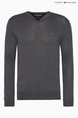 Next Mens Tommy Hilfiger Core Cotton Silk V Neck Sweater